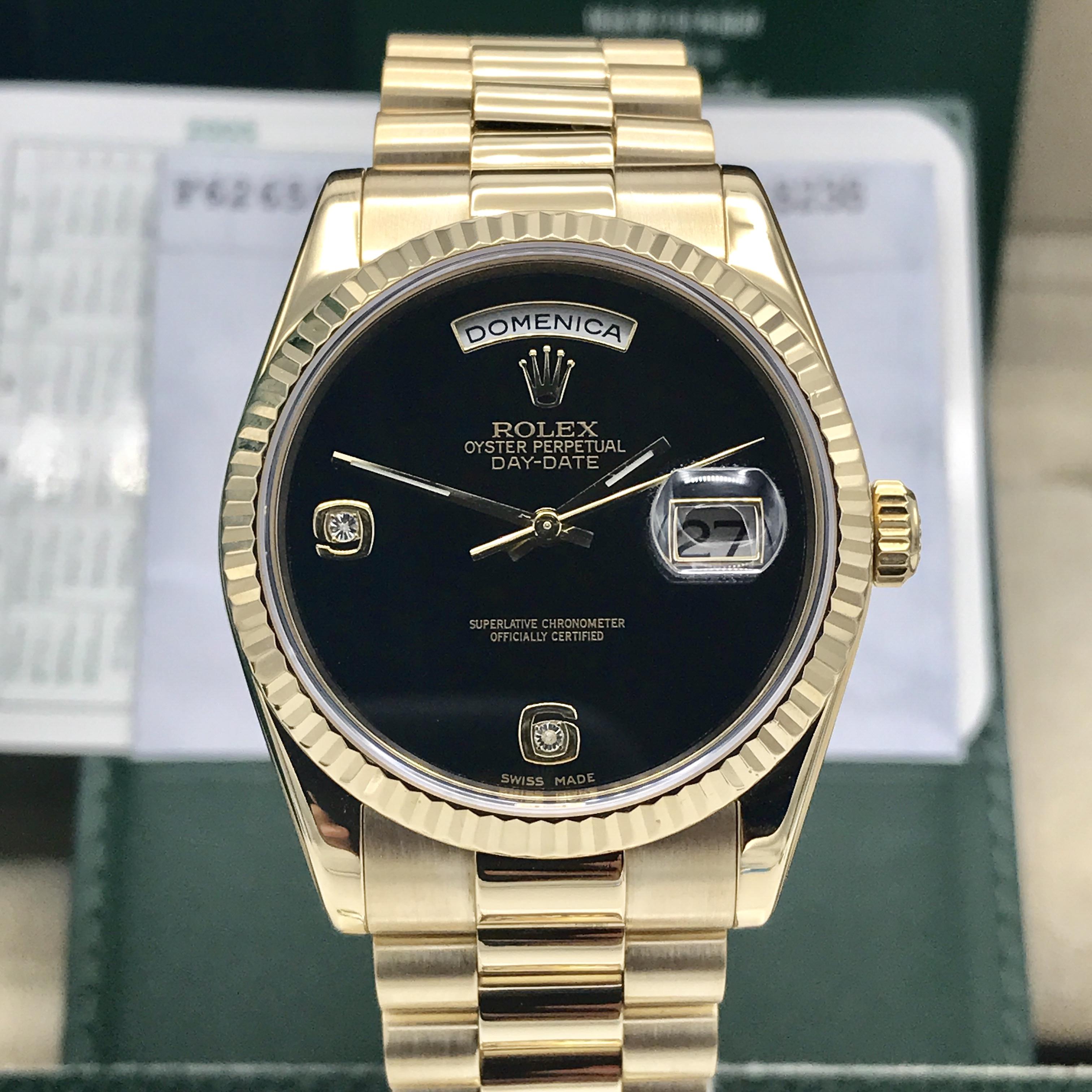 Rolex Day Date 118238 Soild 18k Gold Onyx Diamond Dial