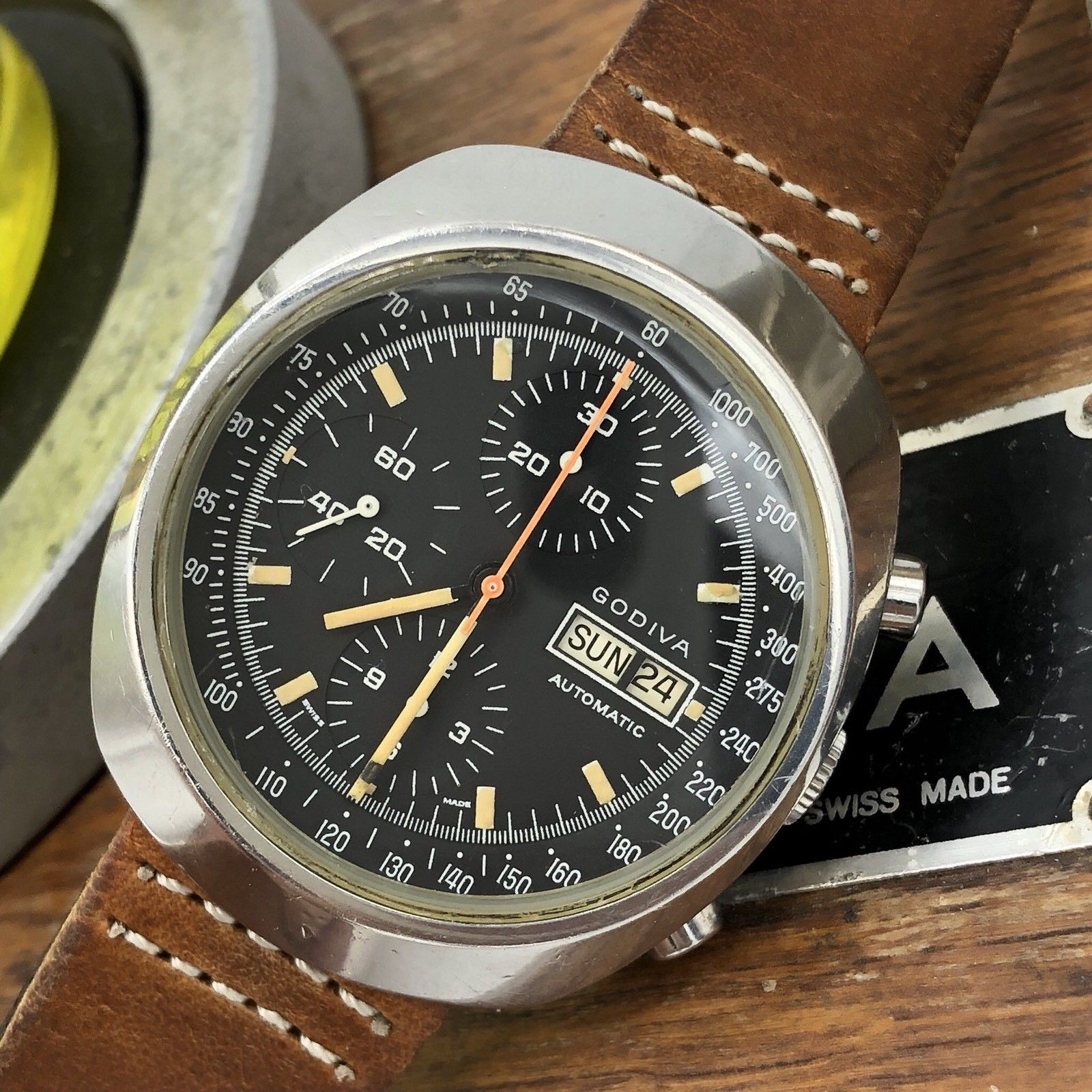 Rare vintage godiva chronograph swiss made watch 38mm 7750eta awadwatches for Watches 38mm