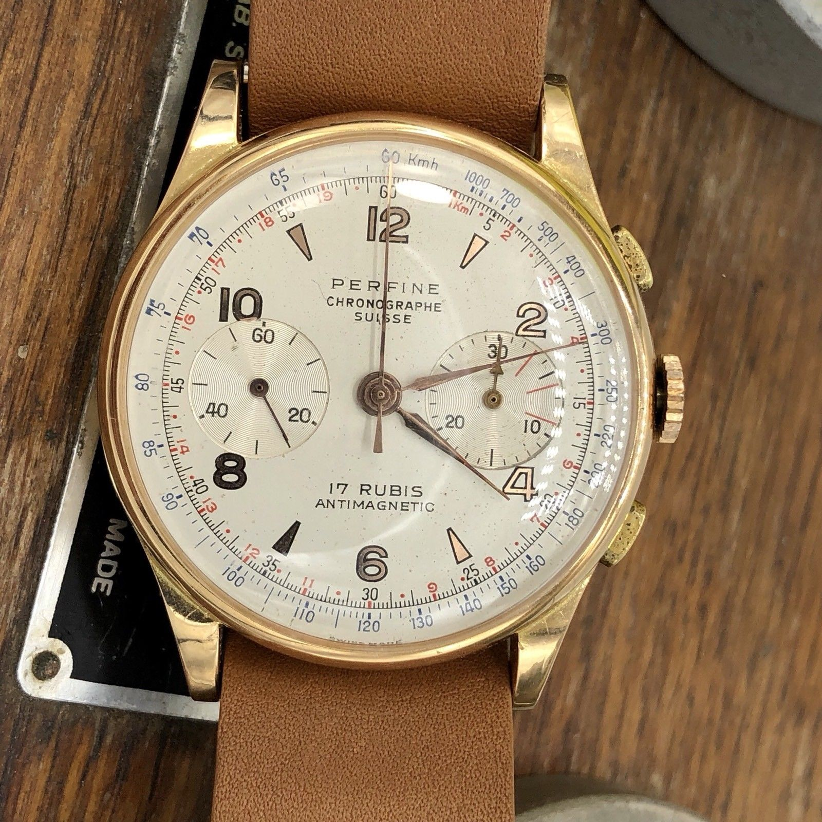Rare vintage perfine chronograph 18k rose gold swiss made watch 38mm awadwatches for Watches 38mm