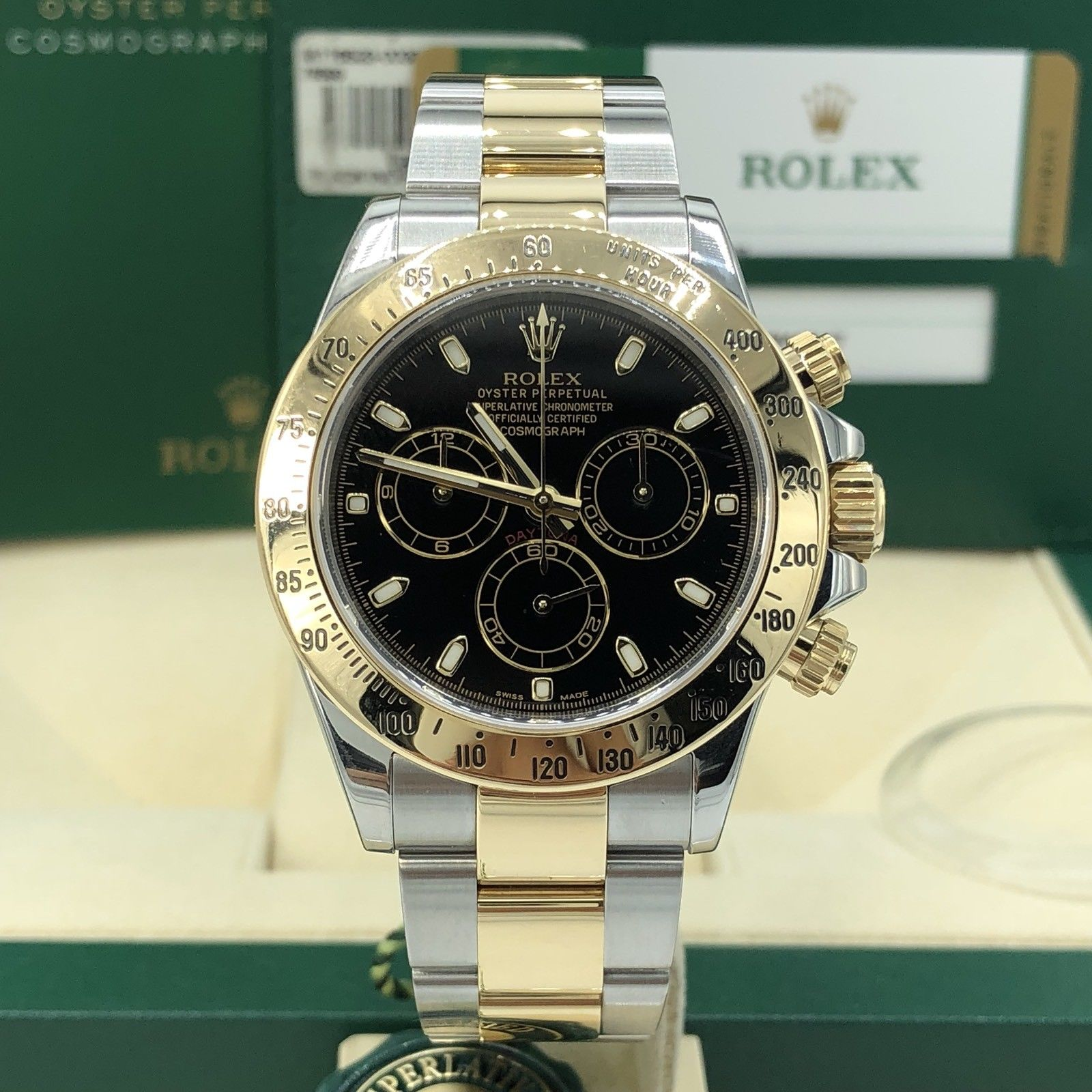 2015 Rolex 116523 Daytona 2 Tone Gold 18k Steel Black Dial box and ... 9297932faa2