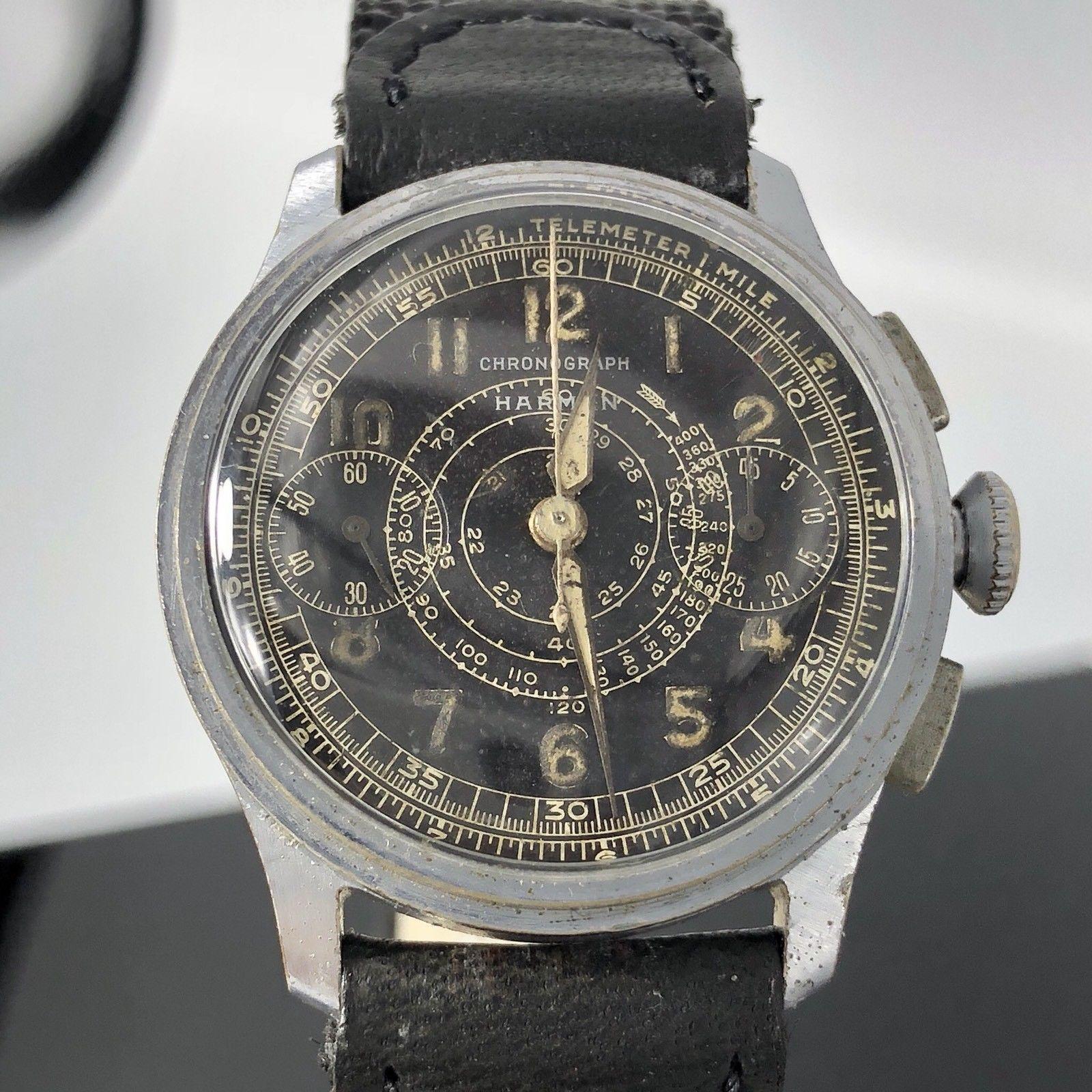 Vintage rare Harman Watch Company Chronograph military watch 1940 ...