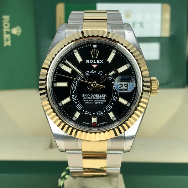 2018 Rolex Sky,Dweller 326933 Two,Tone Black Dial 42mm Unworn box and card