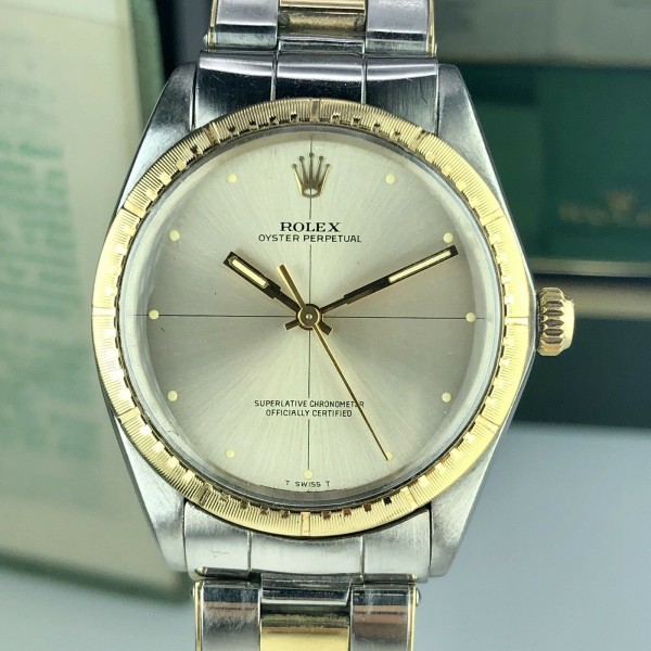1969 Rolex Oyster Perpetual Factory Zephyr Dial 2 Tone 34mm Box \u0026 Double  Papers
